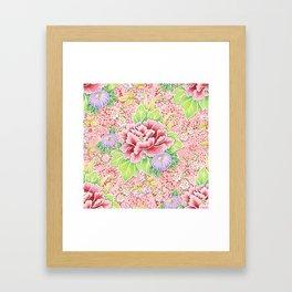 Pink Paisley Kimono Bouquet Framed Art Print