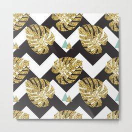 Golden palm leaves Metal Print