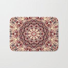 Beige Old Rose Mandala  Psychedelic Pattern Bath Mat