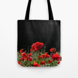 Red Poppies in bright sunlight Tote Bag