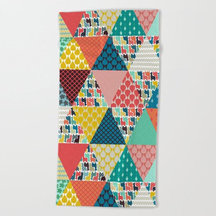 llama geo triangles Beach Towel