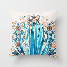 Cactus and Moroccan tiles Throw Pillow