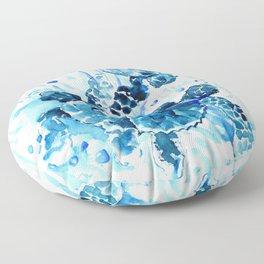 Three Sea Turtles, blue bathroom turtle artwork, Underwater Floor Pillow