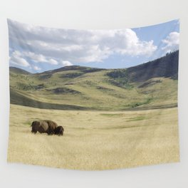 Alone Time - Bison on Range Wall Tapestry