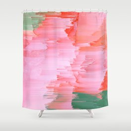Romance Glitch - Pink & Living coral Shower Curtain
