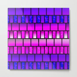 Pink and Blue Offset Tiles Pattern Metal Print