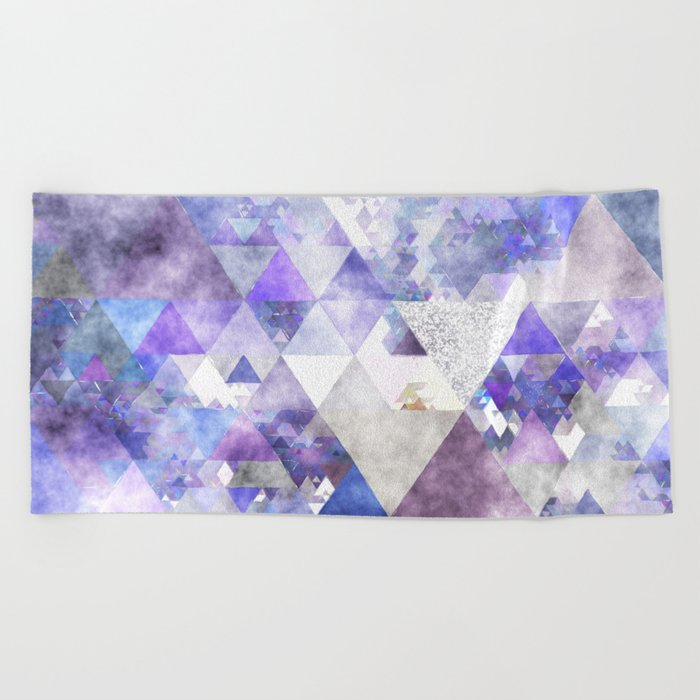 Purple and silver glitter triangle pattern - Abstract Watercolor illustration Beach Towel