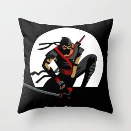 ninja warrior and full moon Throw Pillow