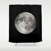 the moon Shower Curtains featuring Moon by Matt Bokan