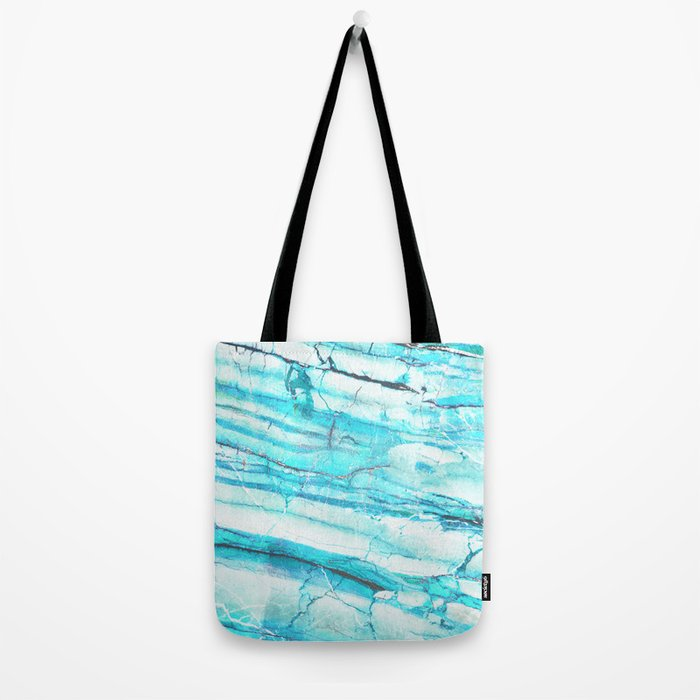 White Marble with Blue Green Veins Tote Bag