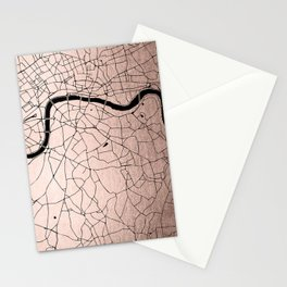 London Rosegold on Black Street Map Stationery Cards