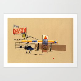 Berts Cafe screenprint Art Print
