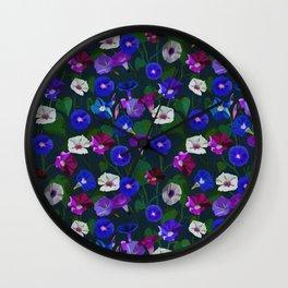 Watercolor flowers. Bindweed. Liana Wall Clock