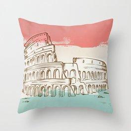 Colosseum hand drawn Throw Pillow