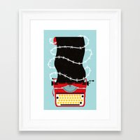 write Framed Art Prints featuring Typer Write by Dorian Danielsen