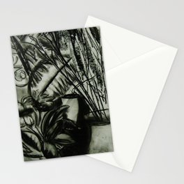 Expressionist Still Life in Charcoal, Flowers--Art Prints Stationery Cards