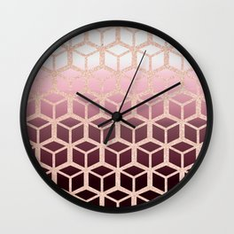 mauve ombre with rose gold cubes Wall Clock