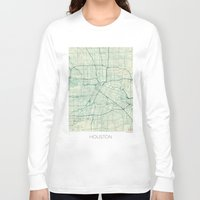 houston Long Sleeve T-shirts featuring Houston Map Blue Vintage by City Art Posters