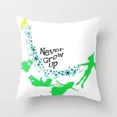 Peter Pan, never grow up Throw Pillow