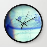jelly fish Wall Clocks featuring Jelly Fish by Amee Cherie Piek