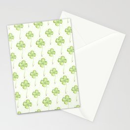 Four Leaf Clover Lucky Charm Pattern Watercolor Stationery Cards
