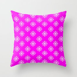 Snowflakes (White & Magenta Pattern) Throw Pillow