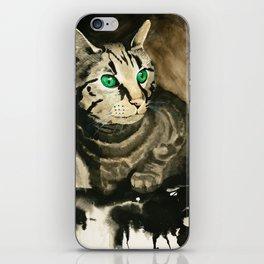 Green Eyes - Grey Tabby iPhone Skin