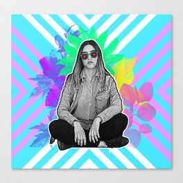 Blue Stripped Sunglasses Canvas Print