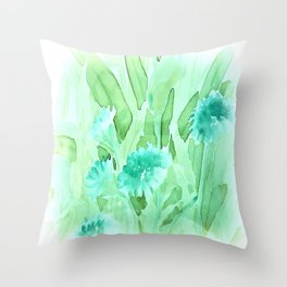 Soft Watercolor Floral Throw Pillow