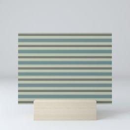Blue-Green Beige Purple Horizontal Stripe Pattern 2021 Color of the Year Aegean Teal & Accent Shades Mini Art Print