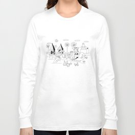 Funny Figurative Line Drawing of Alys Beach Community on 30a Long Sleeve T-shirt