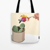 succulent Tote Bags featuring SUCCULENT by Beth Hoeckel
