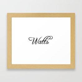 Watts Framed Art Print