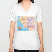 middle earth V-neck T-shirts featuring Middle-Earth metro map by tuditees