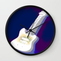 guitar Wall Clocks featuring Guitar by Vitta