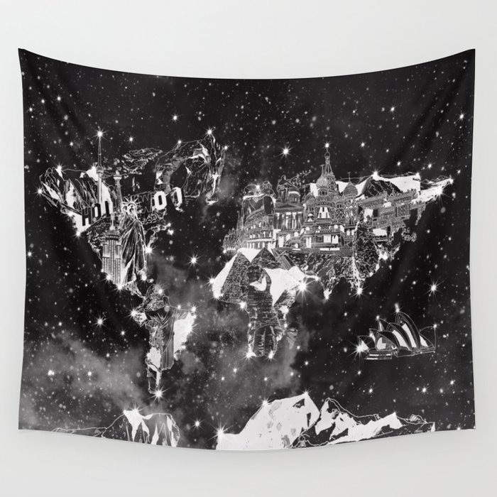 World map galaxy black and white wall tapestry by bekimart society6 world map galaxy black and white wall tapestry gumiabroncs Image collections