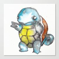 squirtle Canvas Prints featuring Squirtle by Wednesday Wolf