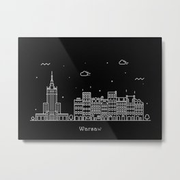 Warsaw Minimal Nightscape / Skyline Drawing Metal Print
