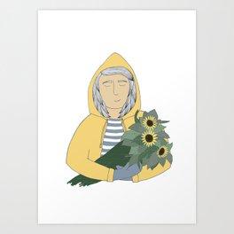 Girl with sunflowers.  Art Print