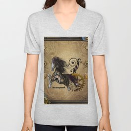 Wild steampunk horse with clocks and gears Unisex V-Neck