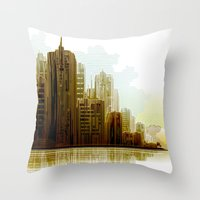 cityscape Throw Pillows featuring Cityscape by Robin Curtiss