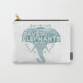 Save Elephants - Word Cloud Silhouette Carry-All Pouch