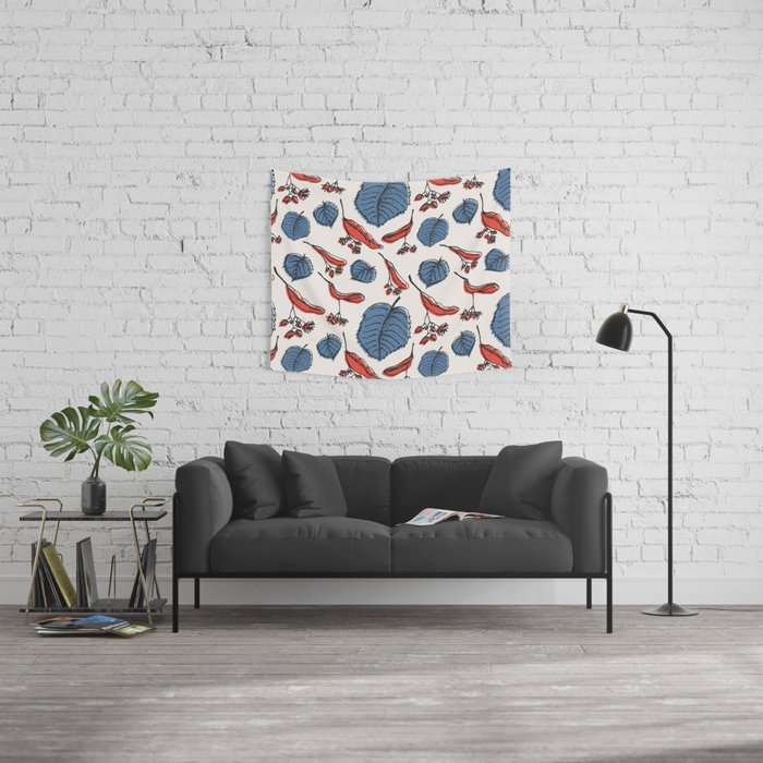 Linden pattern in retro mid-sentury colors Wall Tapestry