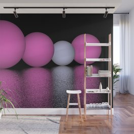 spheres and reflections - pink Wall Mural