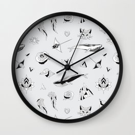 Pattern with Geometric Illustrations Wall Clock