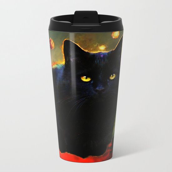 black cat Metal Travel Mug