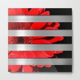Red Daisy Black & Silver Metallic Stripes Metal Print