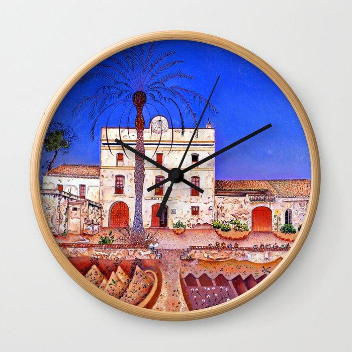 Joan Miro House with Palm Tree Wall Clock