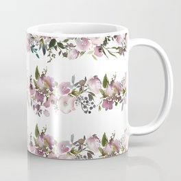 Girly pink lilac teal watercolor floral stripes pattern Coffee Mug