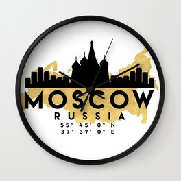 MOSCOW RUSSIA SILHOUETTE SKYLINE MAP ART Wall Clock